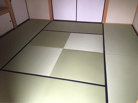 縁付畳と、縁なし畳を組み合わせた、デザイン畳
